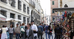 Famous Italian Venetian Mask Souvenirs Narrow Shopping Street Venice People Walk Stock Footage