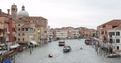 Historic Old Town Venice Sightseeing Grand Canal Tour Boat Ferries Passing Day Stock Footage