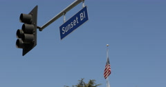 Famous Sunset Boulevard Street Sign Traffic Light American Flag Los Angeles Icon Stock Footage