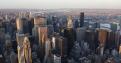 Spectacular Sunset New York City Skyline Aerial View Big Apple Landmarks Sights Stock Footage