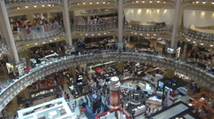 Aerial view luxury shop famous Lafayette Gallery Paris landmark interior hall  Stock Footage
