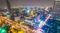 4k timelapse of Bangkok City at night time, Hotel and resident area Stock Footage