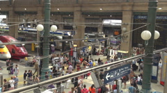 Aerial view famous Gare du Nord Paris central train station crowded tourist day Stock Footage