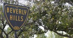 Beverly Hills Crossroad Street Board Road Sign Establishing Shot Los Angeles LA Stock Footage