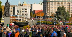 4K Pan Shot of Remembrance Day Memorial Service in front of Cenotaph Stock Footage