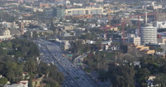 Aerial View Los Angeles Crowded Freeway Panoramic Scenery Cars Traffic Highway Stock Footage