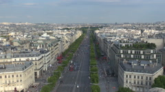 Aerial view Paris large boulevard crowded downtown cityscape day traffic street  Stock Footage