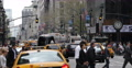 People Crossing Crosswalk New York City Fifth Avenue Busy Cars Traffic Commuters Footage