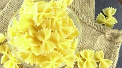 Bow-tie pasta (seamless loopable) Stock Footage