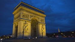 Place Charles Gaulle traffic street Paris Arc Triomphe Eiffel Tower silhouette  Stock Footage