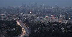 Night Dusk Light Los Angeles LA Hollywood Freeway Busy City Street Cars Traffic - stock footage
