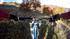 Mtb riding on extreme mountain trail - stock video. downhill extreme sport Stock Footage