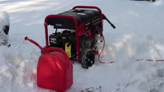 Outdoor Generator in Snow with Gas Tank Stock Footage