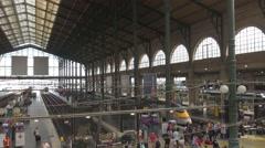 Interior Paris Central train station busy platform tourist people travel commute Stock Footage