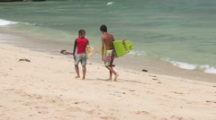 Surf Dudes On A Beach Stock Footage