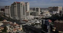 Establishing Shot Las Vegas Busy Sin City Skyline Aerial View Caesars Palace Day Stock Footage