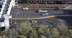 People Crossing Bridge Las Vegas Boulevard Rush Hour Cars Passing Road Traffic Stock Footage