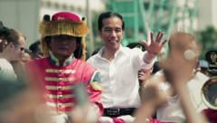 Parade of the 7th Indonesian president, Joko Widodo Stock Footage