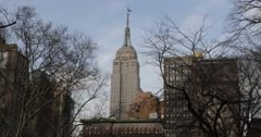 Empire State Building Famous Architecture New York City NYC Manhattan Sunny Day Stock Footage