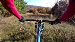Hd: extreme donhill mountain cycling - stock video Stock Footage