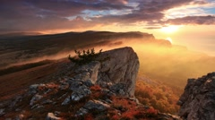 4K. Timelapse sunrise in the mountains Ai-Petri. Alupka, Crimea, Russia. - stock footage
