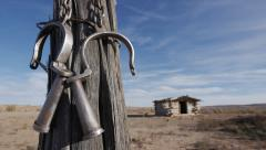 Wild West Ghost Town Outlaw Hideout in American Southwest with Chains Stock Footage