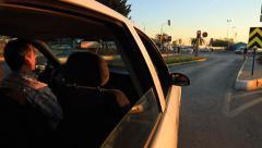 Man driving around and enjoying the sun. Car mounted camera. Stock Footage