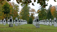 Soviet military cemetery - autumn 3 Stock Footage