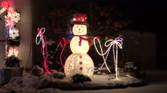 4K Lighted Christmas Snowman loop Stock Footage
