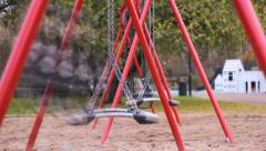Time Lapse Smal girl on swing kids playground Stock Footage