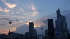 Timelapse cloud passing Paris financial district La Defense area business tower  Stock Footage