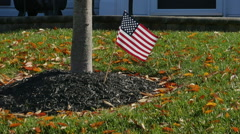 2575 American Flag in Font Yard in Slow Motion - stock footage