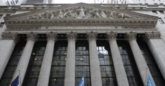Stock Video Footage of American Iconic New York City Stock Exchange Trade Market Capitalism US Landmark