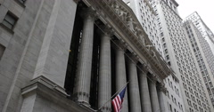 Stock Video Footage of American Flag National Landmark NYSE New York Stock Exchange Building Facade NYC