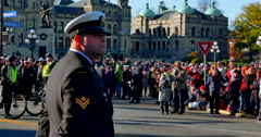 4K Canadian Military Soldier, Police Officers, Crowd and Government Buildings Stock Footage
