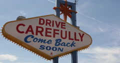 Drive Carefully Come Back Soon Las Vegas Neon Sign Sightseeing Famous Landmarks Stock Footage