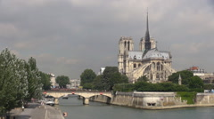 Timelapse Notre Dame church boat pass people walking tourism attraction Paris  Stock Footage