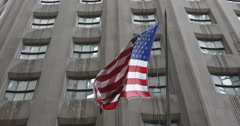 American USA Flag National Proud NYSE Market Capitalization Building Background Stock Footage