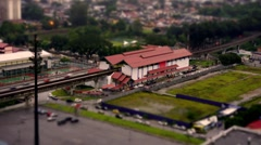 Diorama Tilt Shift Miniature Train Station Stock Footage