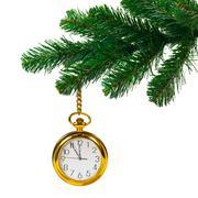 Christmas tree and clock Stock Photos