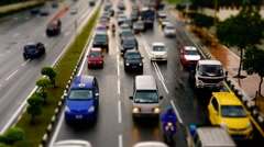 Diorama Tilt Shift Miniature Traffic At JalanTunRazak 02 Stock Footage