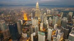Kuala Lumpur Cityscape Sunset From KL Tower Stock Footage