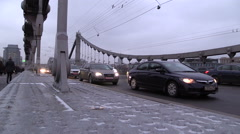 MOSCOW. RUSSIA. 04 JAN 2014: Evening traffic on the Krymsky bridge. Stock Footage
