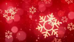 Red Christmas Snowflakes And Starglow Backgrounds Stock Footage
