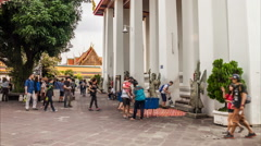Timelapse of tourist walking around church of wat po temple Stock Footage