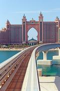 Atlantis hotel and monorail train in dubai Stock Photos