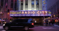 Radio City Music Hall Front Facade Entertainment Arena Show New York City Night Stock Footage