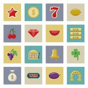 Slot machine and gambling flat icon set Piirros