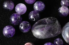 amulet amethyst stone - stock photo