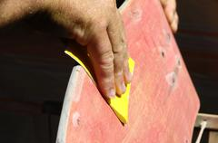 restore an old skateboard - stock photo